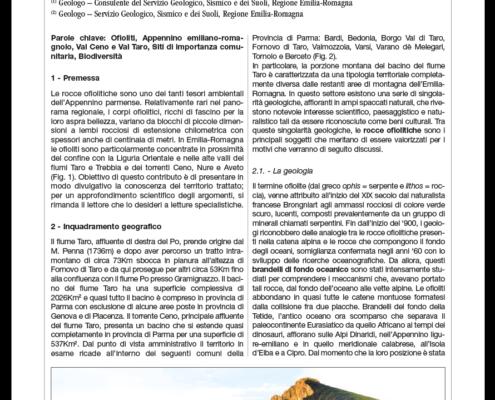 Segadelli geologia rupi ofiolitiche Taro Ceno