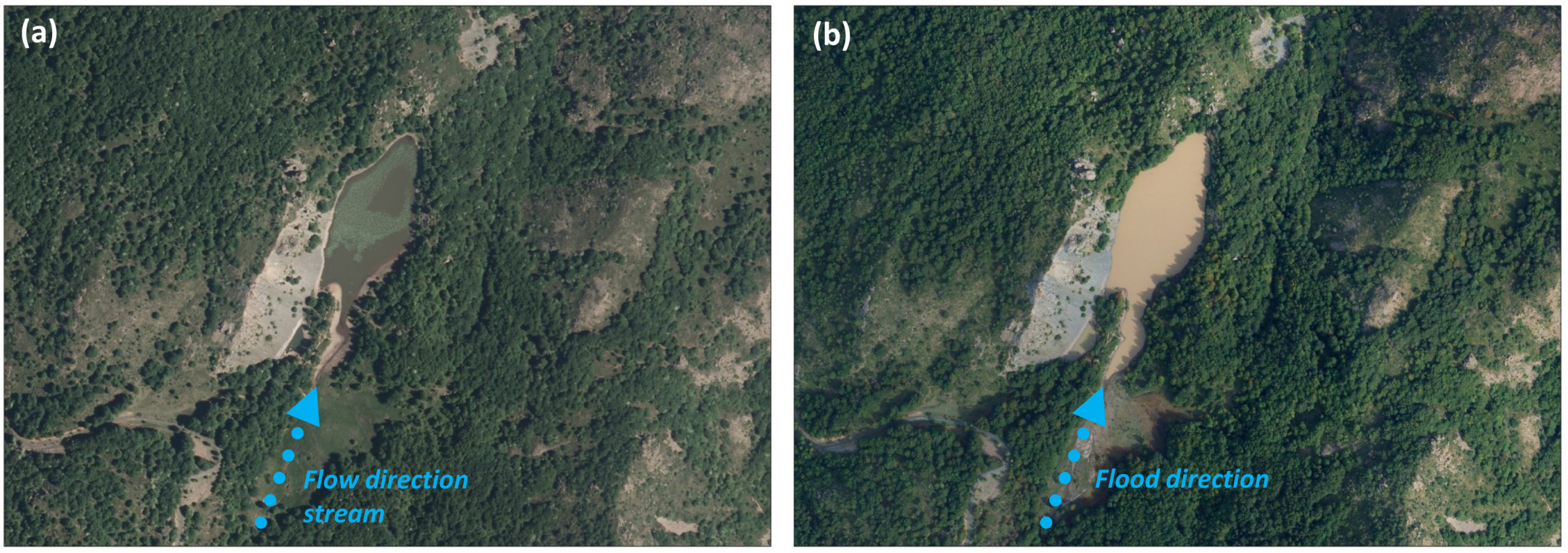 Satellite imagery before (a) and after (b) the high-discharge flood in September 2015. Note the solid transport that has long hit Lake Bino (IT 4020008 site code). Note the occurrence of Nuphar lutea during Summer.